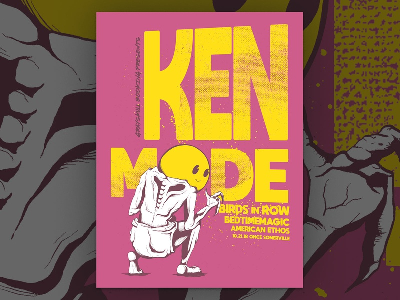 KEN mode Gig Poster new england massachusetts grayskull booking once somerville american ethos bedtimemagic birds in row ken mode music concert art print screenprint gig poster noise rock