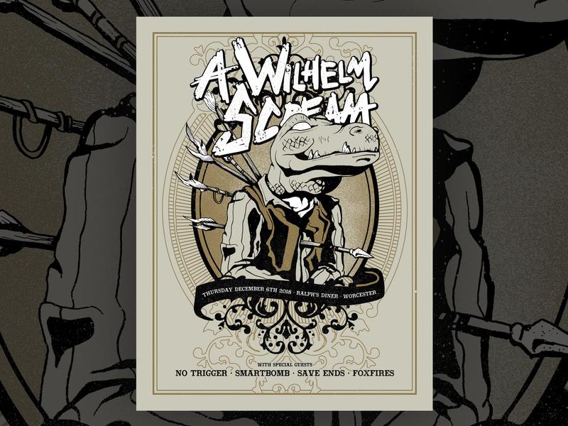 A Wilhelm Scream Gig Poster foxfires save ends smartbomb no trigger a wilhelm scream hardcore punk vintage western alligator cowboy concert poster gig poster screenprint poster