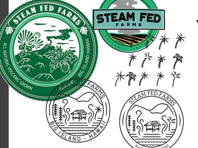 Leftover Farm Logo Bits line hawaii farm mark logo steam emblem branding badge