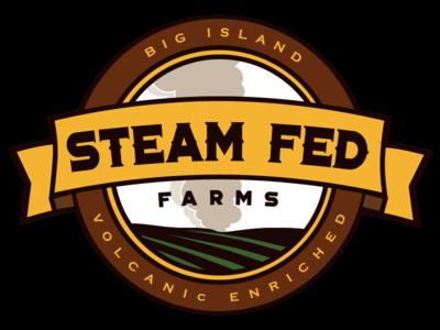 Steam Fed Farms banner steampunk produce hawaii volcano steam badge logo farm