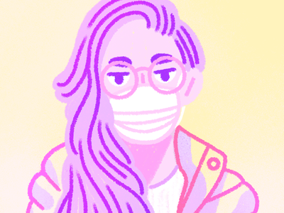 @PeopleWhoWantToPetMyDogButAren'tWearingAMask >:( illustration corona covid designer girl pink gradient woman person character drawing texture procreate illo mask wear a mask