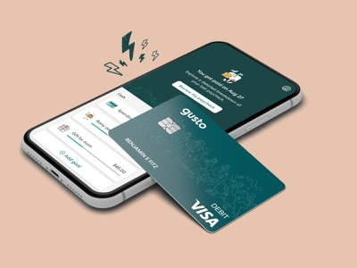 Gusto Wallet Launch people platform debit card cash pay day ui illustration payroll healthy habits money app financial wallet gusto