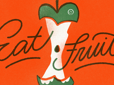 Peachtober - Core core apple furrylittlepeach peachtober inktober layers multiply silkscreen script typography type handlettering lettering eat fruit procreate illo grain texture illustration