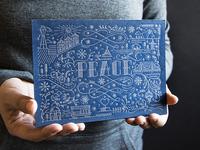 San Francisco Themed Metallic Letterpress Holiday Card