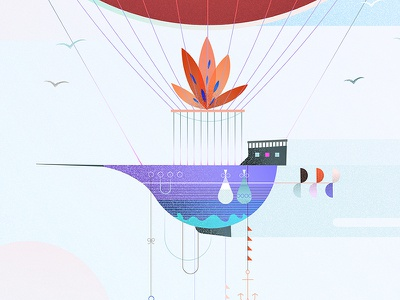 Ship details grain texture float dreamy ethereal sky wip details hot air balloon airship illustration illo