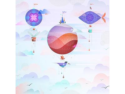 Do good, feel good. dreamy illustration illo float sky airship hot air balloon fish ethereal details texture grain