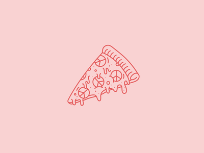 #PollinateWithPeace - No. 4 lineart vector series cheesy illustration monoline monoweight slice piece of pizza pizza peace pollinatewithpeace