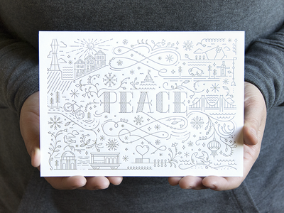 San Francisco peace card - white holidays city san francisco icons monoline monoweight peace christmas intricate decorative illustration handlettering