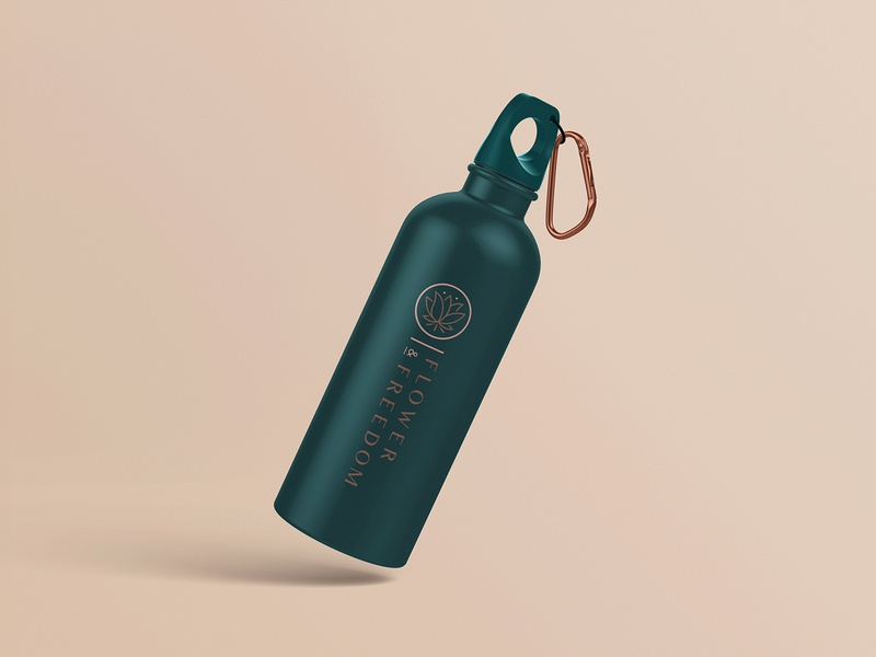 Flower & Freedom - Water bottle mock up logo design brand health wellness fitness product merch water bottle cannabis