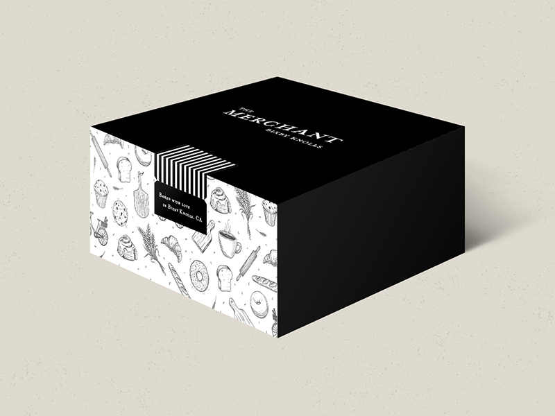 Package design - The Merchant hand drawn pastries french woodcut black and white drawings custom illustration baked goods coffee cafe bakery packaging