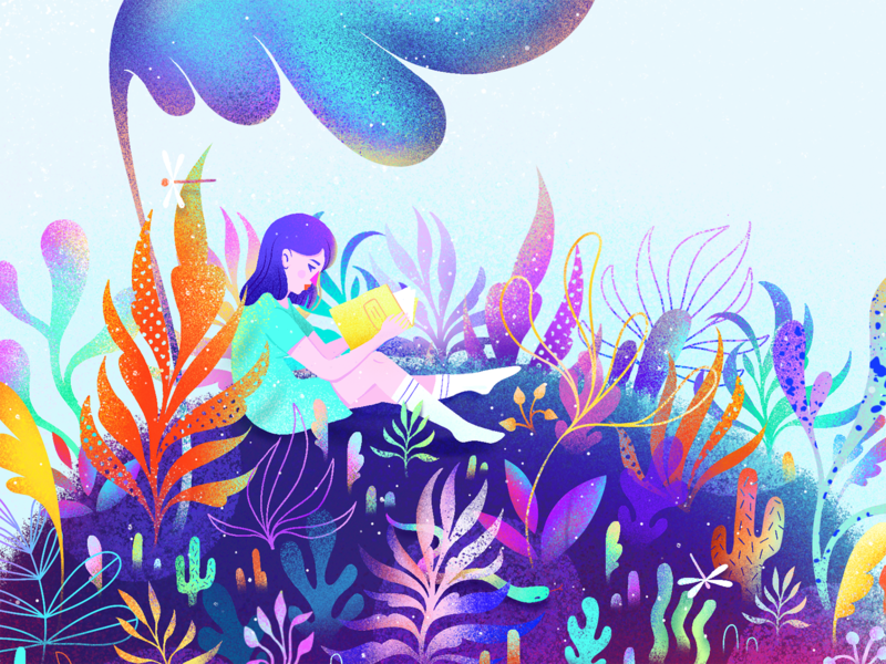 June 2017 to April 2019 was magical dreamy feminine girl drawing magic dream flora texture grain vibrant rainbow color procreate forrest flowers floral illustration illo