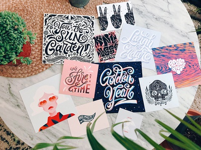 Prints! pastel color illo type letters illustration printed handlettering lettering artwork prints