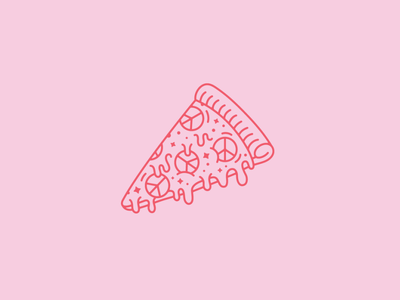 Peace-a pizza! monoline vector mono illustrator amandamakesgood amanda ortiz pwp peace pun illo pizza illustration