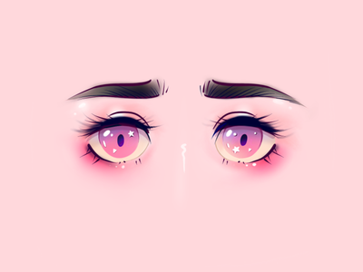 Starry eyed cute kawaii star dreamy pink anime pastels color tut tutorial character illo texture illustration