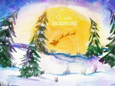 Background of snowy forest with santa claus on sledge