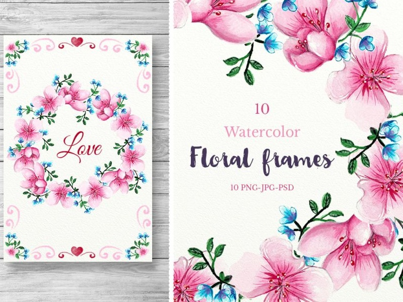 10 Watercolor Flower Frames by Adina Neculae - Dribbble