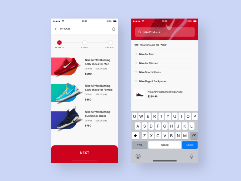 E-Commerce App - Cart & Search Suggestions suggestions shoes ecommerce clean ui app cart process red light clean uiux ui cards ui listing cart cards search