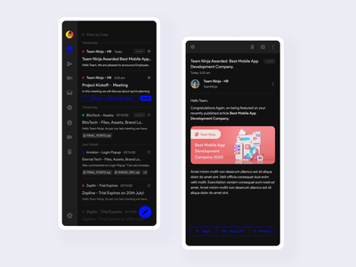 Concept Email App figma clean concept app concept uiux ui email listings email client dark ui email app