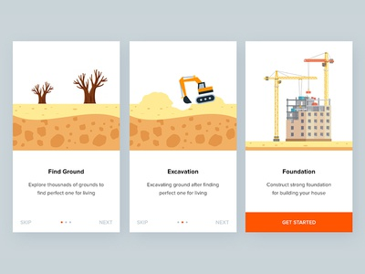 Daily ui #023 construction clean intro mobile illustration onboarding