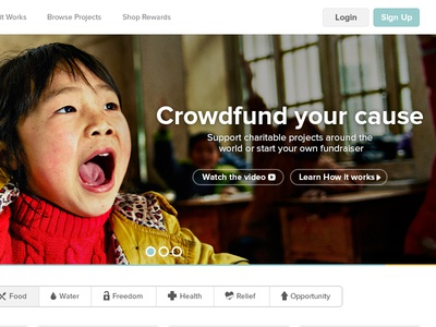 Pure Charity Home Page home page design crowd funding