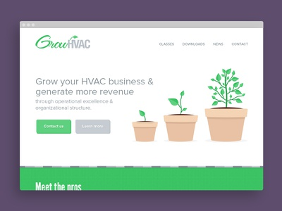 GrowHVAC home page design design home page photoshop flat