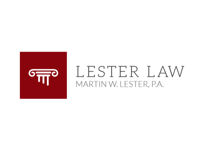 Lester Law Logo logo branding law firm red pillar