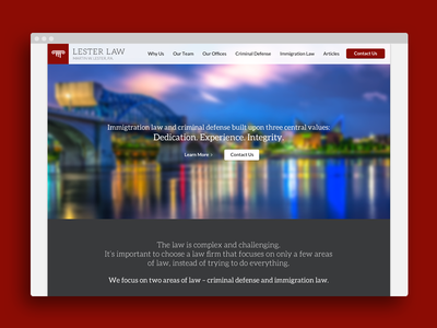Lester Law Website web design photoshop layout ui ux law red flat