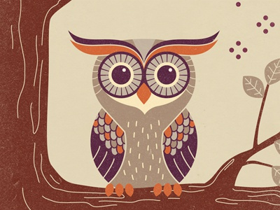 Finished Owl illustration owl cute rust noise eyes tree texture leaves warm colors