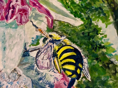 The Whole World is a Garden - 3 insect bug bees spring wildlife watercolor nature painting illustration gouache