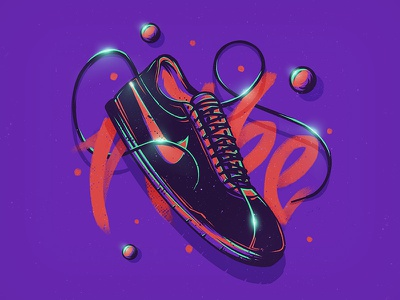 Nike 'n Type abstract shoe illustration glow pen brush typography skateboard nike