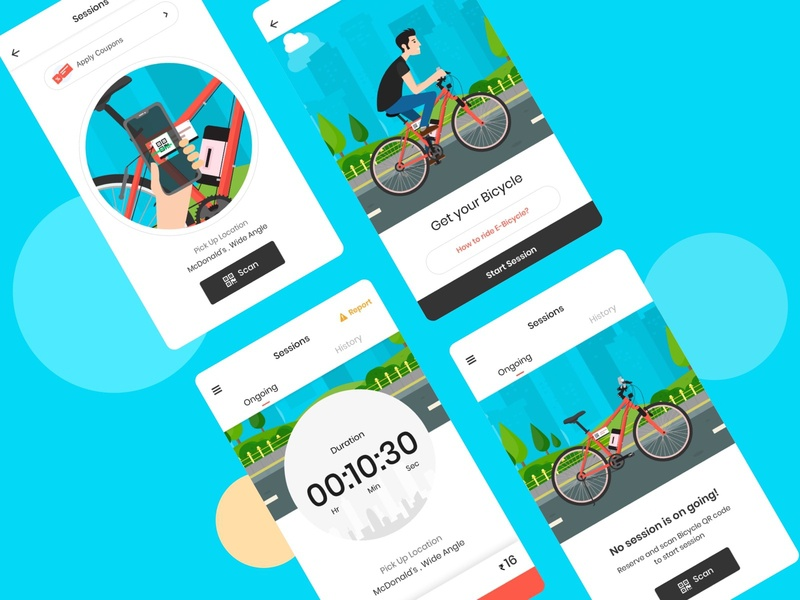Rent E Bicycle qr code session timer scan flat minimal vector design app design bicycle rent rental app illustraion bicycle e bicycle rental app ux ui