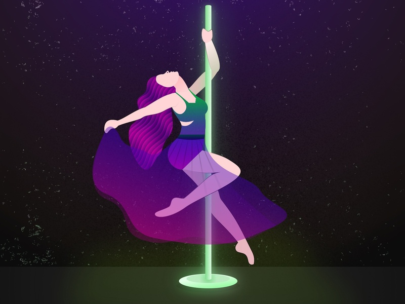 Fly dance girl illustration fashion fly high dark theme dancing colour neon light artwork art pole dance dance
