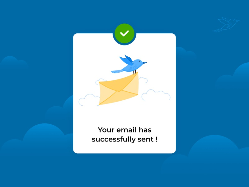 Email sent bird pop-up infographic successful message sent email popup website icon animation logo gradient web illustration ux vector ui design