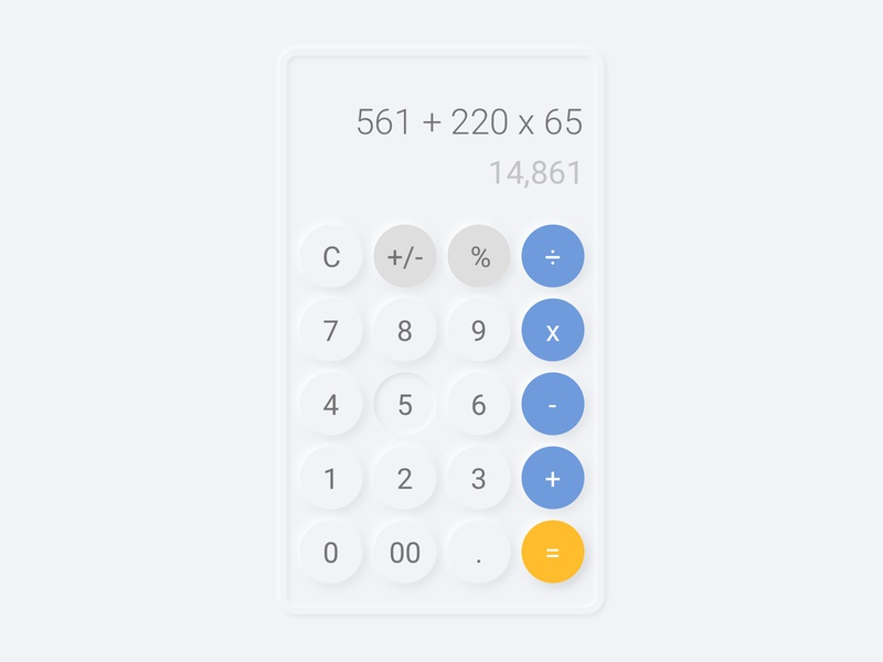 Calculator Neomorphism Style shadow dark calculator ui 2020 trending neomorphism calculator button ui icon typography branding web illustration ux ui vector design