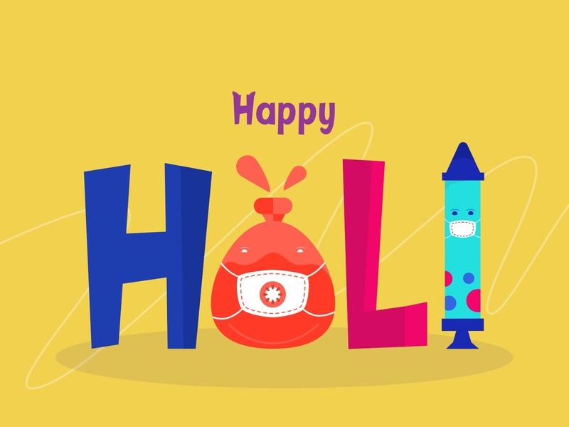 Happy Holi holi 2020 vector art vector icon typography illustration design illustration uidesign water balloon ballon pichkari colors artwork safe holi holicorona coronavirus happy