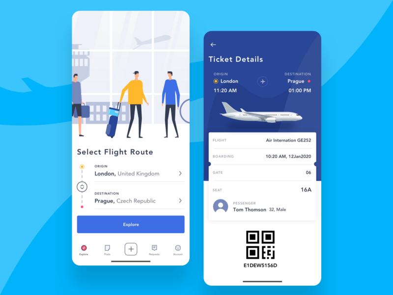 Flight App plane scan travel app tab bar blue flight app screen ticket vector ux design uiux ui app design flight app