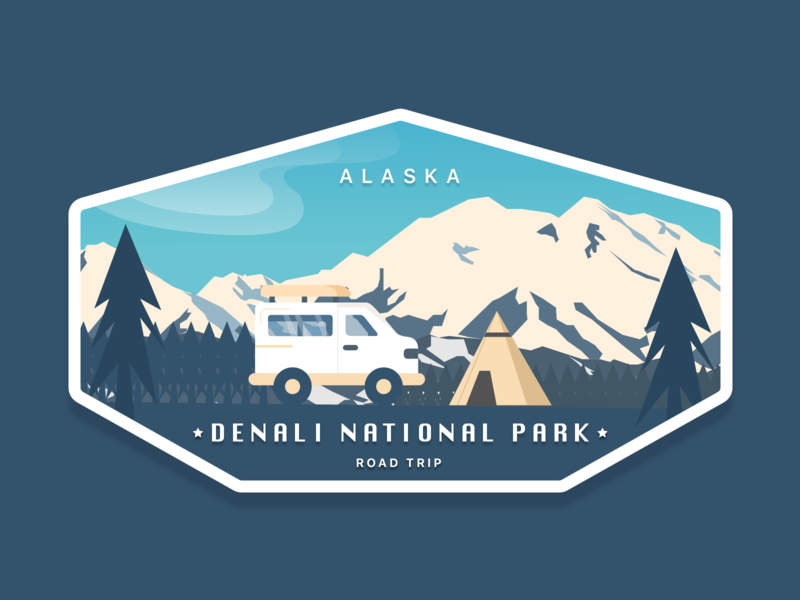 Mt Denali Road Trip mountain logo mountain badge road trip denali alaska tent van travel branding illustration vector design