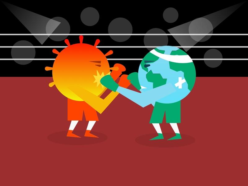 Fight Back!! fighter fight back concept covid-19 planet imagine art thought artwork coronafunny earth punch wrestling fight corona virus coronavirus