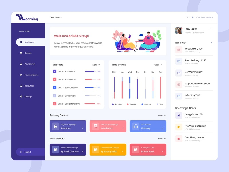 Learning Course App e-books learning dashboard learning app course app learn logo design ui design icons color profile artwork art typogaphy dashboard ui dashboad yudiz ux uiux ui