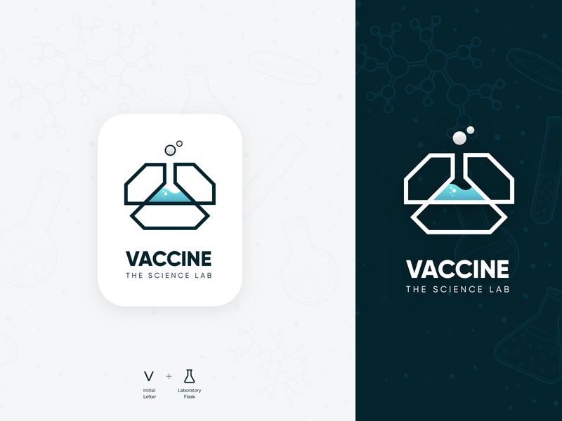 Vaccine - The Science Lab lab creative chemistry bubbles medical corona covid19 logo flat minimalist logo minimal typography branding gradient pharmaceutical vector logo design design ux ui