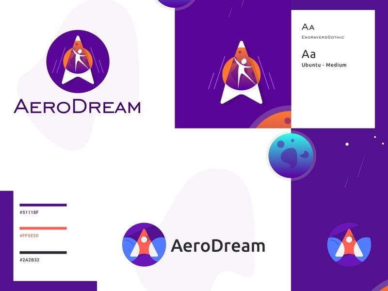 AeroDream planet a logo plane plane logo dream aero design branding logo