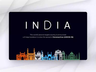 India Lockdown - COVID19 concept transition animate art coronavirus apocalypse country layout animation design illustration animation typography virus covid19 corona lockdown india vector design ui ux