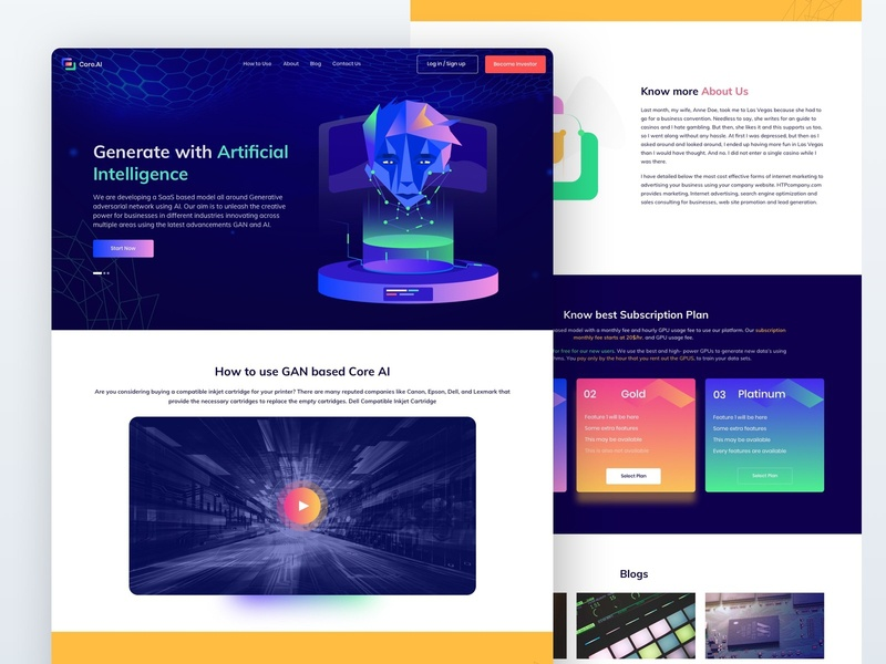 Core AI Landing page play ux design design form contact us pricing vector landing page artificial intelligence ai webdesign ui