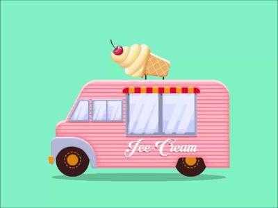 Ice cream truck minimal gradient animation illustration vector design