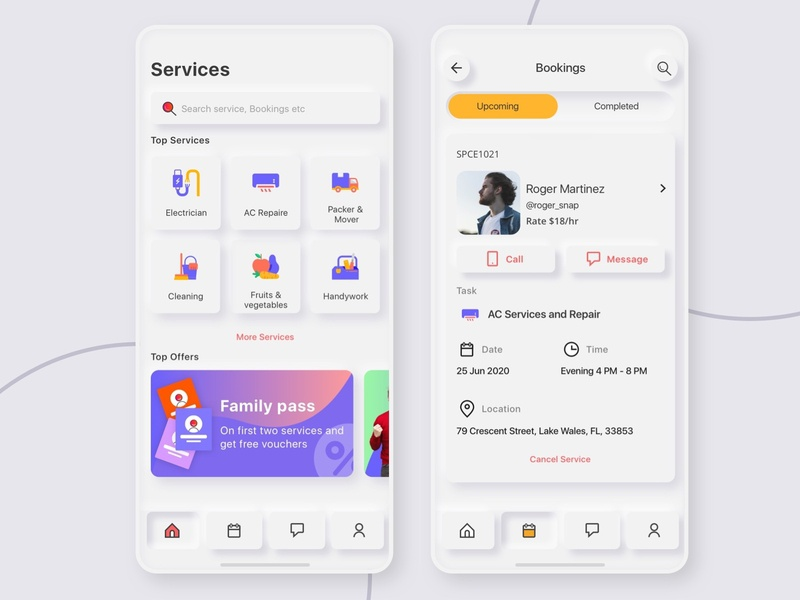 Service app Neumorphism ux design uiux ui stay home service offers mobile neumorph icon home screen booking app design app ui neumorphic neumorphism