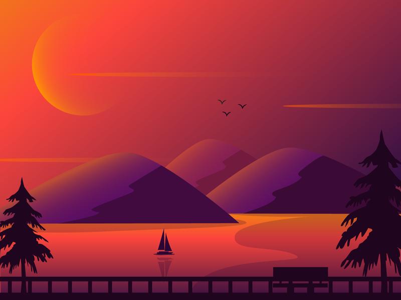 Sunset gradient illustration vector design