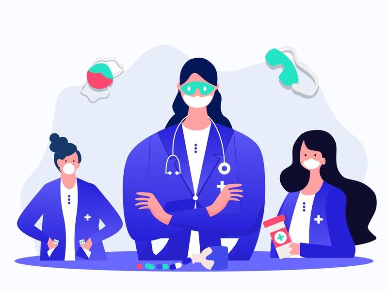 Doctors illustration doctor support yudiz stay safe stayhome minimal design gradient icon vector nurse medicine graphic gradient color colors doctors illustration artwork art