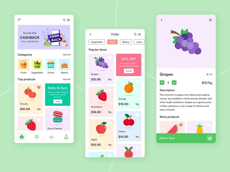 Grocery Store App delivery online store online shop yudiz fruits app minimal design app icon typography cashback color buy onine grocery store grocery app design ui design uiux ui