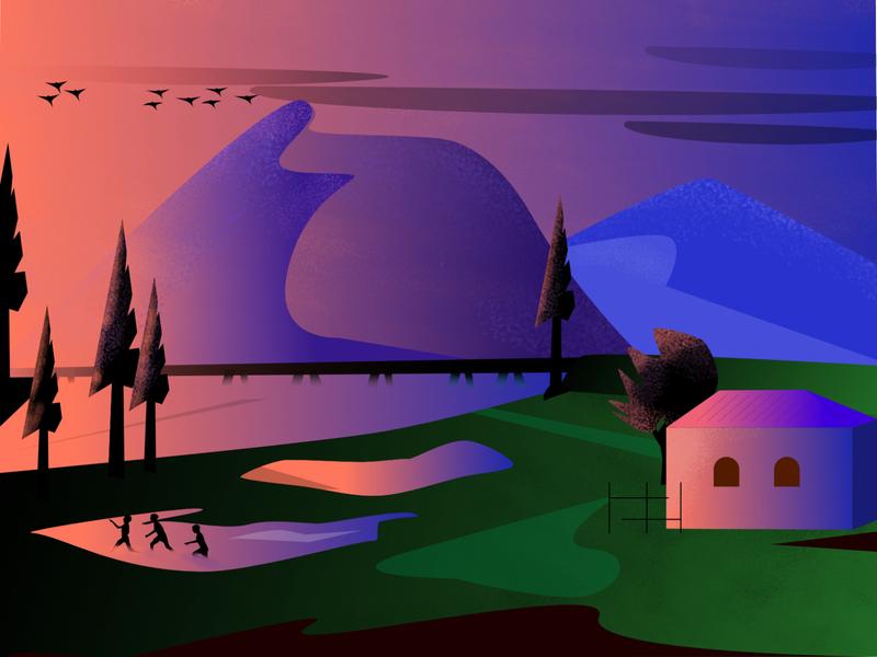 Morning lights Artwork creative artwork graphicdesign illustrator yudiz riverbank rays clouds sky pond monsoon river mountain landscape fun brushes gradient illustration vector design