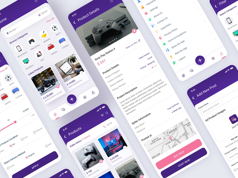 Reseller App UI Concept filters category playstation gaming sale iconography tab bar home screen product color gradient card application minimal typography icon ux ui design app